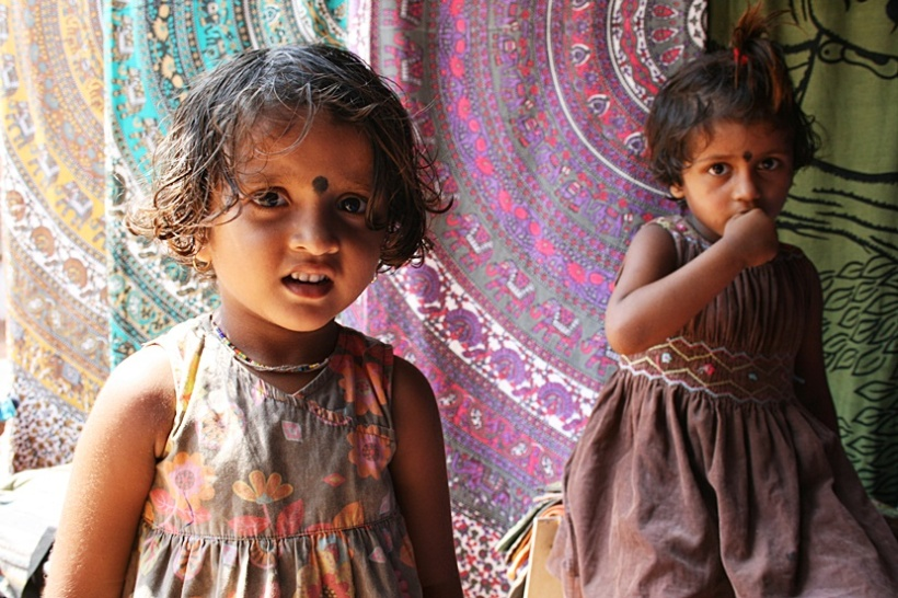 Little girls in rural India.