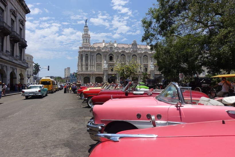Vintage cars lined up.