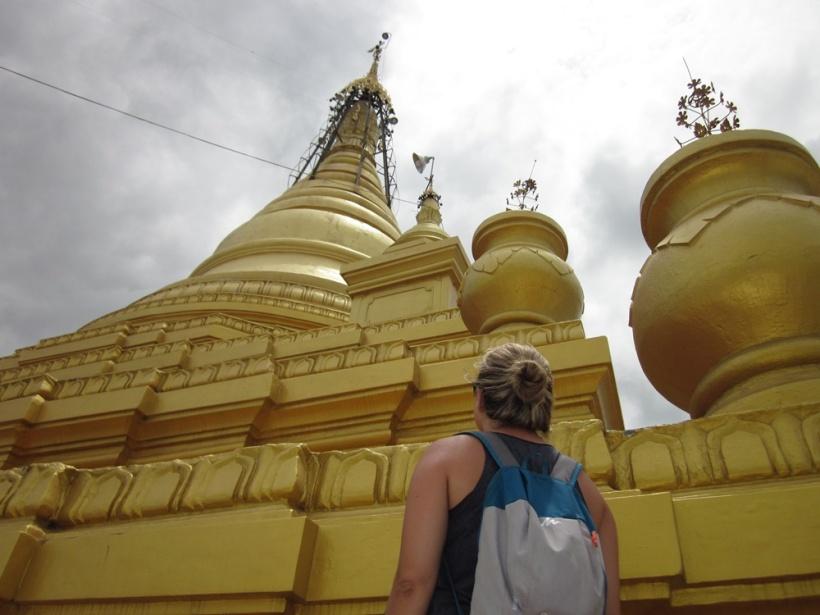 Admiring a temple in Bagan, Myanmar.