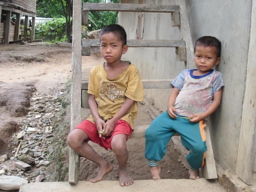 Little boys in a Mekong River village in Laos.