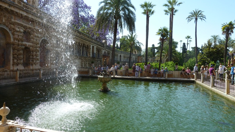 Water spurts at the Real Alcazar Gardens in Seville, Spain.