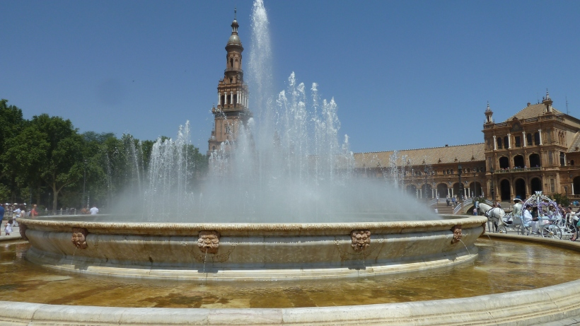 A fountain in the Plaza España in Seville, Spain.