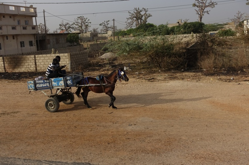 Horse carts rule the dusty streets.