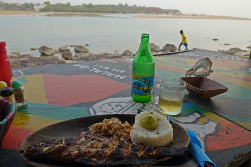 Gazelle beer and fresh fish.
